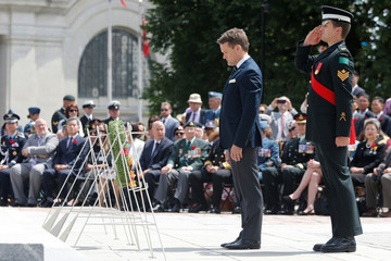 Canada's Veterans Affairs Minister Seamus O'Regan pauses after laying a wreath during a ceremony marking the 65th anniversary of the Korean War Armistice in Ottawa