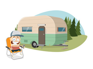 clipart of a happy man sitting in front of a camper