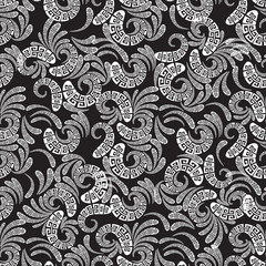 Greek style floral paisley seamless vector pattern.