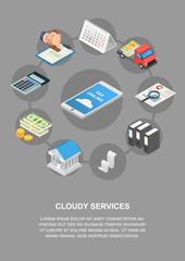 Tax online cloudy services banner vertical. Isometric illustration of vector tax online cloudy services banner vertical for web design