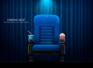 Cinema seat.Theater seat on curtain with spotlight background Wall mural