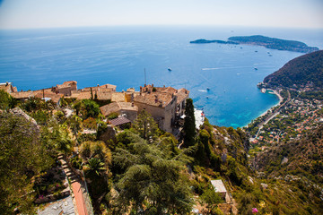 Stunning view of the blue Mediterranean from the charming town of Eze