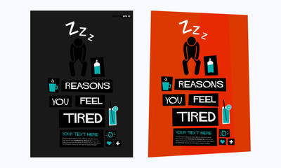 Reasons you feel tired retro vector poster illustration design