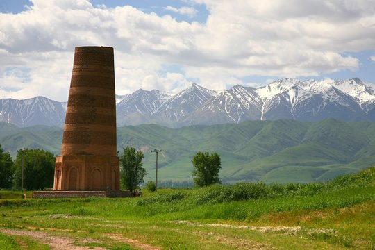 The Burana Tower in the Chuy Valley at northern  of the country's capital Bishkek,