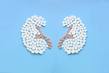 Kidneys made of pills on blue background. World Kidney Day concept