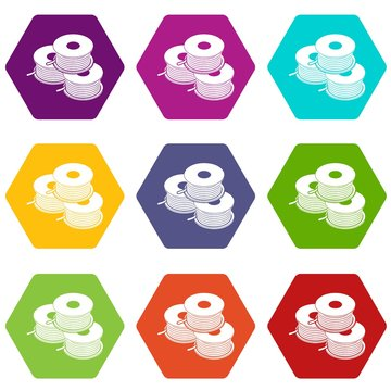 Coil for d printer icons 9 set coloful isolated on white for web