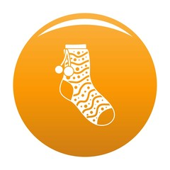 Sock with pompon icon. Simple illustration of sock with pompon vector icon for any design orange