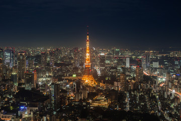 Night view of Tokyo tower in cityscape at japan