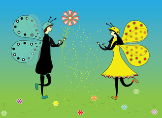 The fabulous background with butterflies. In love the butterfly couple in the flower meadow, vector and jpg format.