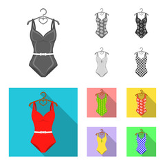 Different kinds of swimsuits. Swimsuits set collection icons in monochrome,flat style vector symbol stock illustration web.