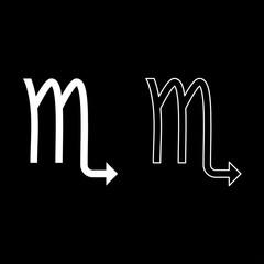Scorpion symbol zodiac icon set white color illustration flat style simple image