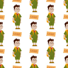 Boy scout seamless pattern camp outdoor background nature kid scouting vector illustration