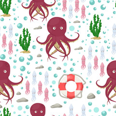Octopus tentacles vector sea animal seamless pattern background squid marine water seafood ocean fish vector illustration.