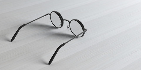 Eyeglasses round black metallic with prescription lens, isolated on a wooden background, 3d illustration
