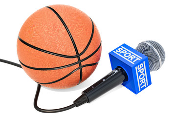 Basketball News concept. Microphone sport news with basketball ball, 3D rendering