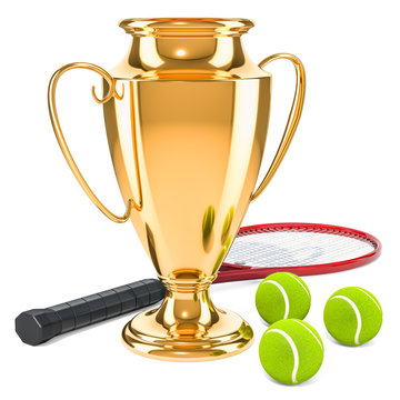 Gold trophy cup award with tennis ball, 3D rendering
