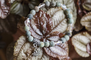 Natural turquoise stone beads yoga bracelet with lotus pendant