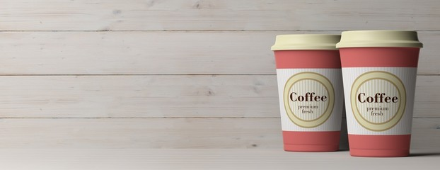 Coffee cups 2, with a lid, isolated on wooden background, copy space, banner, 3d illustration.