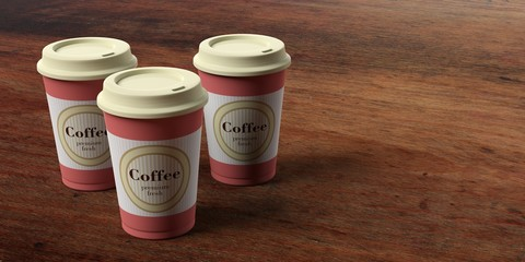 Coffee cups 3, with a lid,  isolated on wooden background, copy space, 3d illustration.