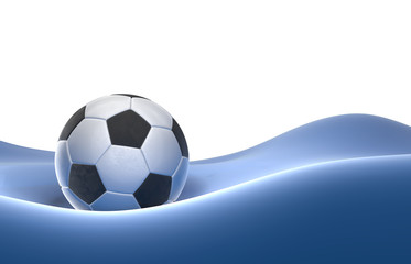 Red Soccer-ball isolated on blue hill background 3d illustration