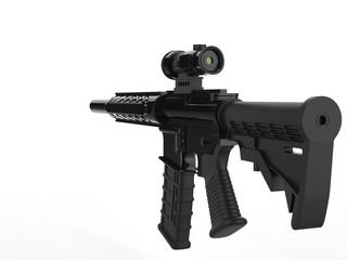 Modern army assault rifle - back view