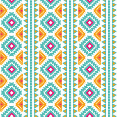 Seamless tribal vertical ethnic pattern Aztec abstract background Mexican texture in bright pink orange colors vector