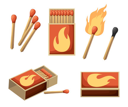 Collection of matches. Burning match with fire, opened matchbox, burnt matchstick. Flat design style. Vector illustration isolated on white background