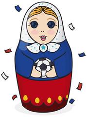 Cute Russian Matryoshka Doll Holding a Soccer Ball under Confetti, Vector Illustration