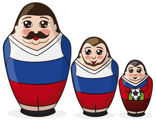 Three Matryoshka Dolls Painted like Soccer Players with Russian Colors, Vector Illustration
