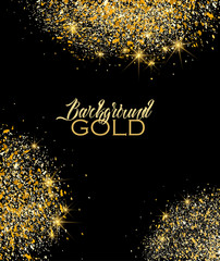 Vector illustration of a golden glitter texture on a black backgrounds. Gold sparkles