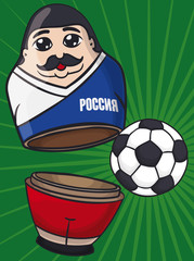 Russian Matryoshka Doll with Mustache like Soccer Player and Ball, Vector Illustration