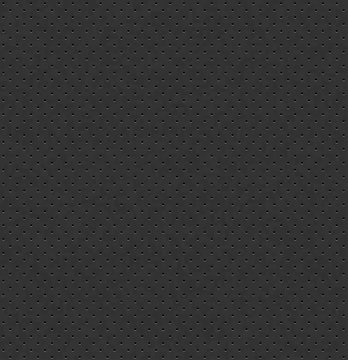 Vector dark gray perforated leather seamless texture. Realistic charcoal perforated background. Black dotted pattern. Car seat material design. Endless web page fill.