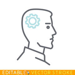 Human head with gears icon. Intellect concept. Editable stroke sketch icon. Stock vector illustration.