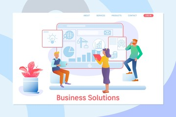 Business solutions. Consulting, project management, financial report and strategy team.Flat vector illustrtion