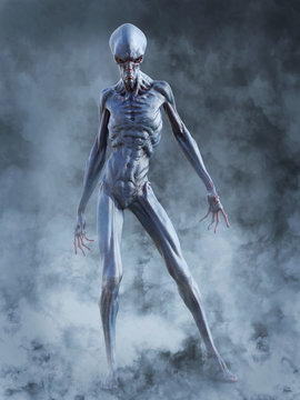 3D rendering of an alien creature ready to fight.