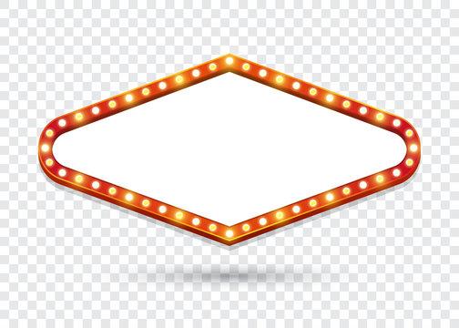 Electric Bulbs Billboard. Empty rhombus retro light frames for text. Vector illustration