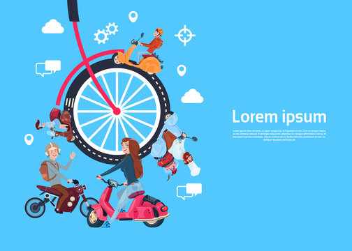 bicycle wheels people on scooter, teamwork process concept, modern effective database support process, rotation concept. processing innovation spin the cog wheel gear mechanism workload icon, flat