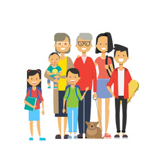 multi generation family together, grandfather grandmother and grandchildren with pets on white background, tree of genus happy family concept, flat cartoon design vector illustration