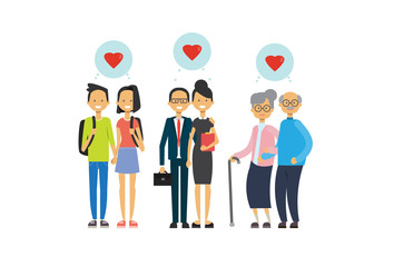 grandmother and grandfather, parent and teens couple in love, multi generation family, full length avatar on white background, successful family concept, tree of genus flat cartoon design vector