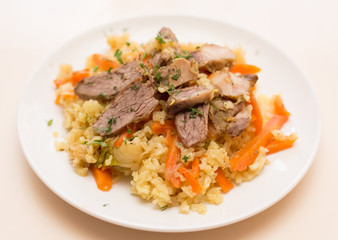 Rice with meat and vegetables on a white plate