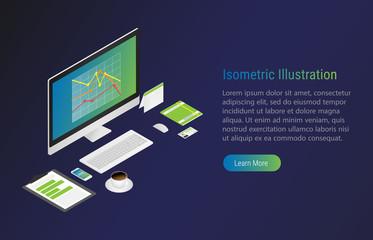 Isometric illustration with Laptop. Economic. Vector