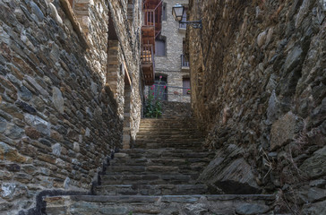 Stone stairway at a rural backstreet