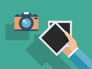 Vector flat. Hand holding more photo frames and phtoto camera. Retro style. Vector illustration.