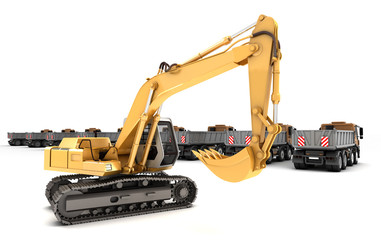 Composition of hydraulic Excavator with bucket at foreground and dump trucks isolated on white. 3d illustration.