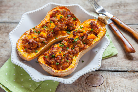 Pumpkin stuffed with meat, vegetables and herbs