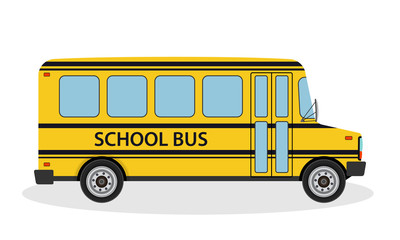 Vector illustration of school bus for children ride to school. Yellow education transportation vehicle in flat style.