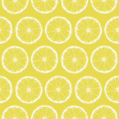 Seamless Pattern with Lemon Slices