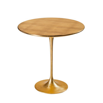 Elegant golden coffee table isolated on white background. Clipping path.