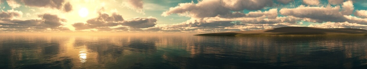 Panorama of a sea sunset, Seascape at sunset, Light above the water of a cloud in the sky.