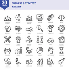 Business And Strategy Line Icons With Keywords